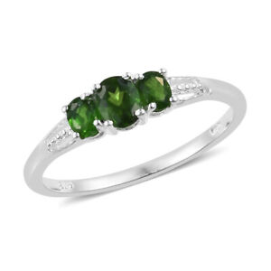 Russian Diopside Trilogy Ring in Sterling Silver Size 6