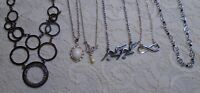 VINTAGE TO NOW ASSORTED PENDANT SILVER TONE CHAIN NECKLACE LOT LIA SOPHIA
