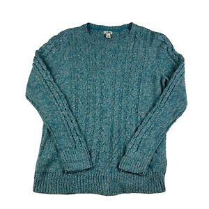 L.L. Bean Jumper Womens Medium Green And White Cableknit Pullover Sweater