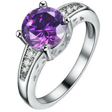 Fashion Women Purple Gemstone CZ Crystal Silver Wedding Ring Jewelry Size 7