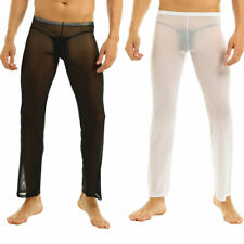 Mens See-through Gauze Long Pants Mesh Sexy Underwear Sport Running Gym Trousers