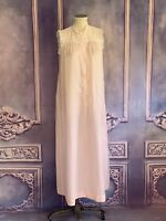Christian Dior Soft & Silky Rose Pink Nightgown SMALL Mock Neck Lace Trim Button