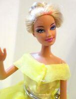 Barbie doll Blonde hair New long lemon evening gown & high heels lovely doll