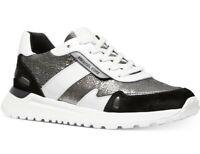NIB Size 9 Michael Kors Monroe Leather Trainer Sneakers Gunmetal Black White