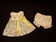 "Handmade Doll Clothes for 13""-14"" Baby Doll Dress Panties Floral Blue Yellow"