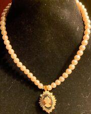 Pearl Unique Claps Lot kg Cameo Necklace With Rhinestones & Faux