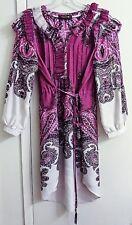 Roberto Cavalli 100% Silk Paisley Ruffle Tunic Boho Dress Women's Size 6 EUR S