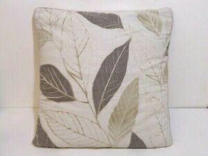CUSHION DEBENHAMS AUTUMN LEAVES BEIGE BROWN GREEN REMOVEABLE COVER SQUARE SHAPE