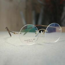 Round titanium eyeglasses rimless mens Steve Jobs glasses frame gold rx eyewear