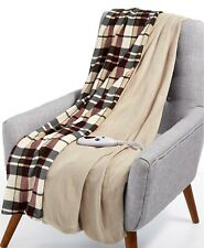 Biddeford Heated Electric Plush Throw Linen