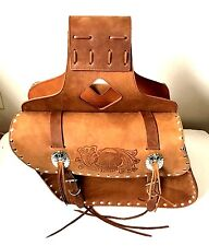 """New genuine brown cowhide leather motorcycle saddle bags 13""""x 10""""x 5""""made USA"""