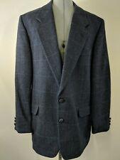 Moda Prima Men's Sport Coat Blazer Jacket 100% Wool Blue Herringbone (F)