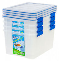 Clear Plastic 44 Qt WeatherShield Storage Box Set Of 4 Stackable Container Bins