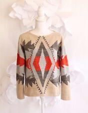 RALPH LAUREN Aztec Sweater Pullover Women's S Petite Beige|Orange Wool Vtg Boho