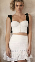 New HOUSE OF CB Bralet Top And Skirt Co Ord Black And White Size Medium 10-12