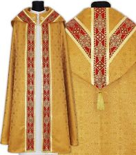 Gold/red Semi Gothic Cope with stole KY113-GC16p Capa pluvial Dorada Piviale Oro