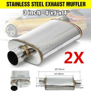 2x 3'' 76mm Straight Through Stainless Steel Car Exhaust Muffler Offset/Centre