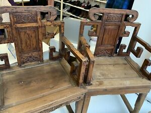 Reproduction Chinese Style Aged Look Wooden Pair Of Chairs Collect IP33