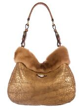 100% AUTHENTIC PRADA GOLD LEATHER, GENUINE MINK TRIMMED SHEARLING HOBO HANDBAG