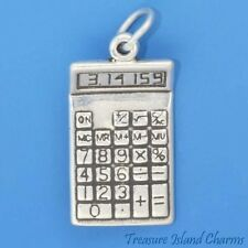MATH CALCULATOR with PI NUMBER SCHOOL 3D 925 Solid Sterling Silver Charm Pendant