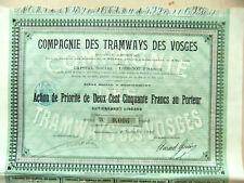 Action de Priorité 250Fr de Compagnie des TRAMWAYS des VOSGES