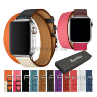 Bandkin Double Tour Bracelet Leather Watch Band Strap for Apple Watch Series 5 4