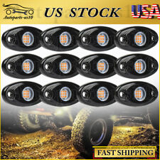 Amber 12 Pods Led Rock Lights For Jeep Offroad Truck Atv Boat Underbody Light