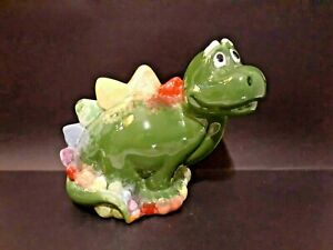 Stegosaurus Dinosaur Piggy Bank Green Pink Yellow Purple Red Glazed Preschool