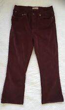 "Madewell Cali Demi Boot Crop Jeans Velvet Burgundy Cabernet Size 30 (29x24"")"