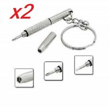 x2 Llavero destornillador, 3 en 1 Gafas de sol, Movil, Relojes, Kit reparacion.