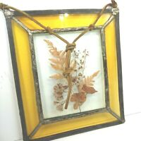 """Vintage Pressed Flowers Leaded Glass Sun Catcher Stained Art Glass 7.5"""" x6"""""""