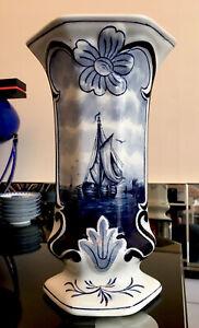 """Antique 19th Century Dutch Delft Blue Polychrome Hand Painted Ship 10"""" Art Vase"""
