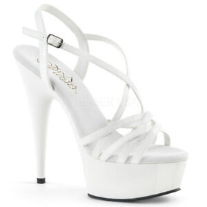 "Pleaser 6"" white strappy platform stripper sandals"