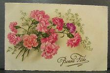 cpa fantaisie bouquet d' oeillets fleurs