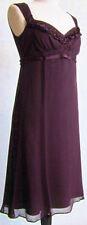 NEW ELIE TAHARI PURPLE AUBERGINE SILK CHIFFON SWEETHEART EMPIRE WAIST DRESS 8 10