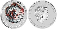 Black Dragon 1 Oz. Silver Dollar 2012 Australia Coin Show Colored Black w/ COA