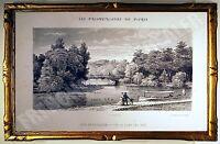 Selten Gravur Brücke Der Iles & Navette -holz Boulogne Promenaden De Paris 1882