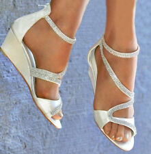 LADIES SATIN DIAMANTE DETAIL LOW MID WEDGE HEEL PEEP TOE STRAPPY SHOES SIZES 3-8