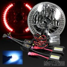 "7"" Round Chrome Crystal Red Led Ring Diamond Headlights Conversion/10000K Hid"