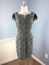 Donna Morgan Anthropologie Black White Check Sheath dress M 8 10 lace cap slv