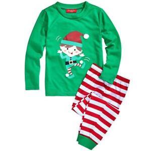 Family PJs Candy Cane Stripe Elf Print Kids Pajama Set Size 6-7 Christmas #7726