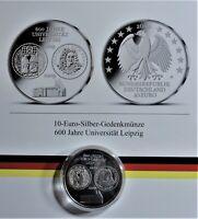 10 EURO 2009 A SILBER  600 Jahre Universität Leipzig st/unc +Kapsel & Zertifikat