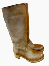 Prada Olive Green/Brown Leather Shearling Lined Lug Sole Boots Size 38