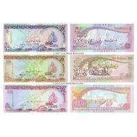 Maldives 5 + 10 + 20 Rufiyaa Set of 3 Banknotes 3 PCS UNC