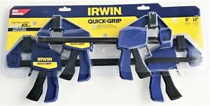 "4pc Irwin 6"" AND 12"" Quick-Grip Mini One-Handed Ratcheting Bar Clamps Set 140LB"