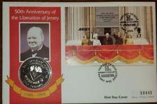 Cubierta de moneda QEII Jersey PNC 1995 ve Liberation Día 50TH aniversario £ 2 moneda