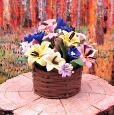 Miniature Fairy Garden Large Colorful Flowers in Brown Basket - Buy 3 Save $5