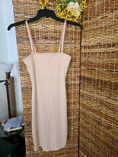 Vintage Vassarette Pencil Knit Nylon Slimmer Slip Sz Xl/44 Beige Shelf Bra