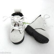 """12"""" Blythe Pullip Momoko Obitsu Doll Shoes Velvet Boots Grey White"""