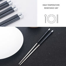 Non-Slip Stainless Steel Chopsticks Metal Chinese Reusable Chopsticks 1Pair FT